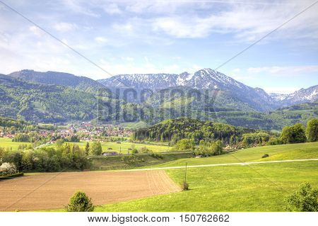 Picturesque suburb of city Salzburg are in the foothill of the Alps