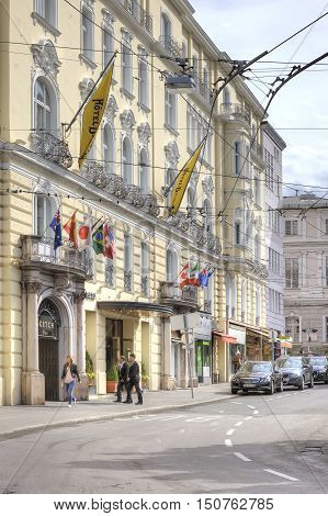SALZBURG AUSTRIA - May 05.2012: City landscape. The historic center of the ancient city. Entrance to the hotel