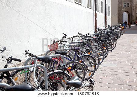 SALZBURG AUSTRIA - May 05.2012: Municipal parking bicycles on a city street