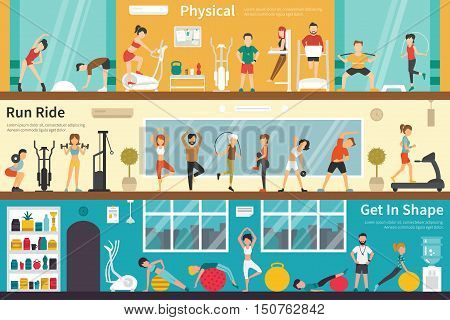 Physical Run Ride Get In Shape flat fitness interior outdoor concept web. Career Chart Fun