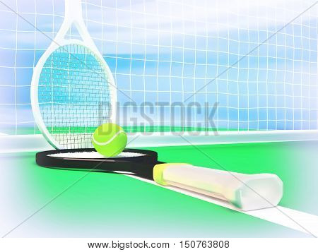 Close up view of tennis rackets and ball on the tennis court. 3D illustration