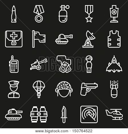 Vector icons set for military infographics mobile game on black background
