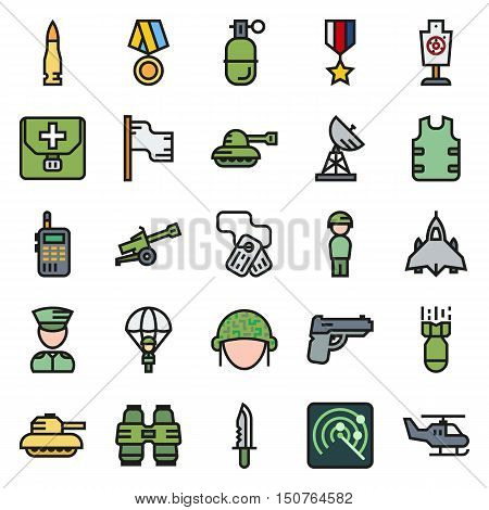 Vector icons set for military infographics mobile game on round background