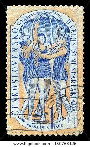 CZECHOSLOVAKIA - CIRCA 1960 : Cancelled postage stamp printed by Czechoslovakia, that shows Gymnasts.