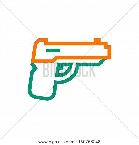 powerful pistol gun handgun icon on white background Created For Mobile Web Decor Print Products Applications. Icon isolated. Vector illustration