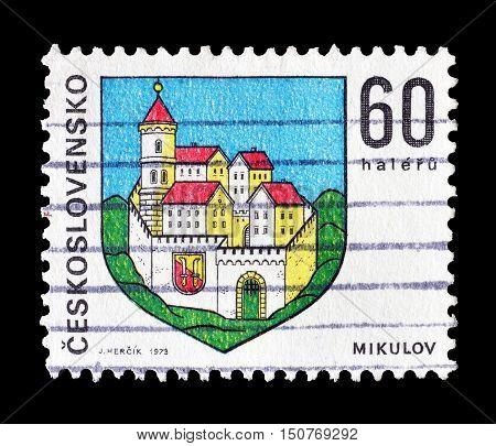 CZECHOSLOVAKIA - CIRCA 1973 : Cancelled postage stamp printed by Czechoslovakia, that shows Mikulov castle.