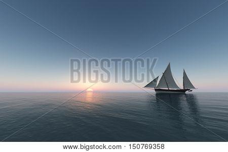 Sailing at sunset - 3D rendering