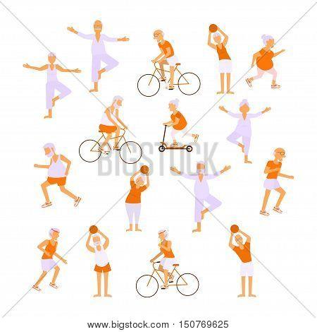 Healthy active lifestyle retiree for grandparents day infographic. Set Elderly people characters doing exercises. Sport for grandparents family Seniors isolated on white background Vector illustration