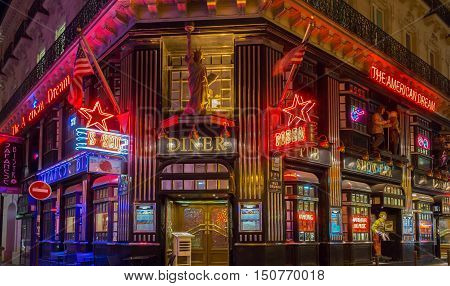 Paris France-October 06 2016: The American Dream is a famous restaurant and entertainment venue in Paris at 21 rue Daunou near National Opera house.
