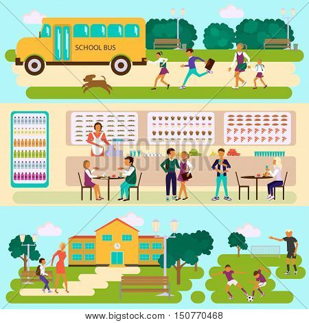 Set of Isolated illustrations of school building, bus, stadium and dining-hall with students children in flat design. Teachers and pupils in different poses. Vector eps10