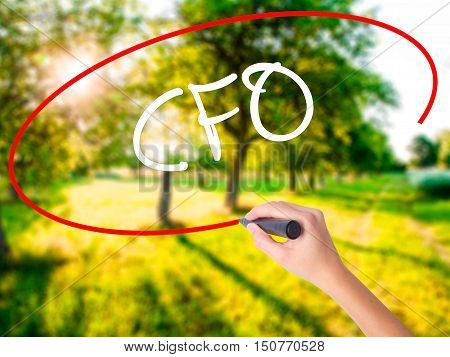Woman Hand Writing Cfo (chief Financial Officer) With A Marker Over Transparent Board