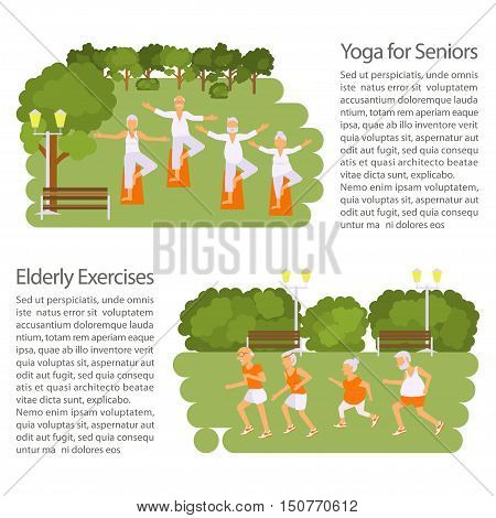 Elderly people doing exercises in different poses poster. Healthy active lifestyle retiree. Sport for grandparents, elder fitness, yoga for Seniors in park. Isolated Place ror text. Vector illustration eps10