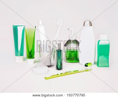 Means of hygiene. Toothbrush, toothpaste, tooth thread, soap, shampoo, balm, cream. 3D illustration