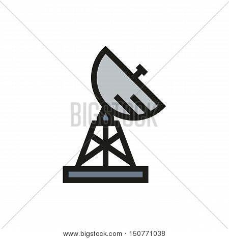 Satellite military radar icon on white background Created For Mobile Web Decor Print Products Applications. Icon isolated. Vector illustration