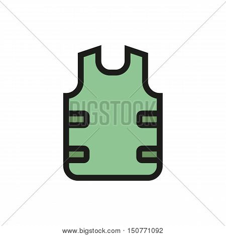 bulletproof vest icon on white background Created For Mobile Web Decor Print Products Applications. Icon isolated. Vector illustration