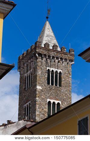 Bell tower of the cathedral of Santa Maria Assunta in Sarzana La Spezia Liguria Italy