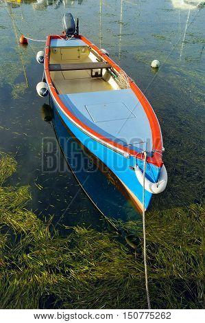 Typical small fishing boat moored in the port of Cisano Garda Lake (Lago di Garda) Bardolino Verona Veneto Italy Europe