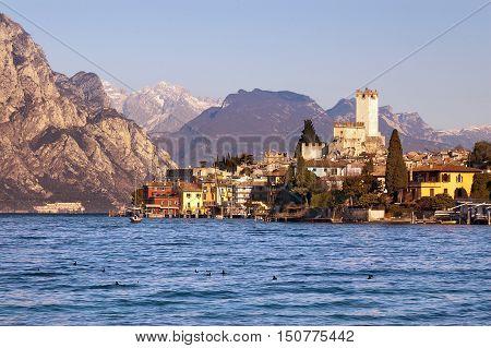 The ancient small town of Malcesine on the Garda Lake coast. Verona Veneto Italy Europe