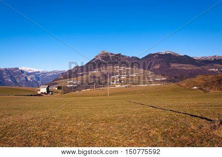 Plateau of Lessinia peak of Corno d'Aquilio and Italian Alps. Regional Natural Park of Lessinia Veneto Verona Italy