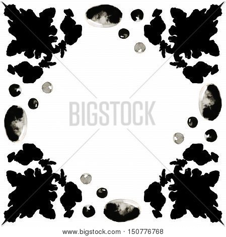 Illustration of a border of black ink blots with ink stones. Hand made painting.