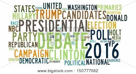 ST. LOUIS, MISSOURI - OCTOBER 8, 2016: United States 2016 presidential election debates in word tag cloud on white background