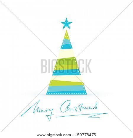 A triangular shaped Christmas tree made of differently colored stripes in shades of blue and green with a star tree topper and handwritten Merry Christmas.