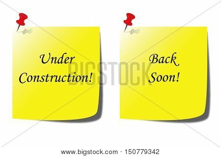 under construction - back soon paper note - website development concept