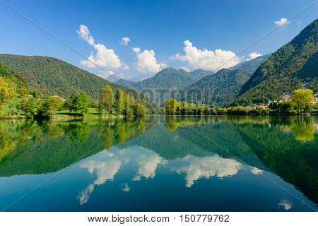 Beautiful natural landscape - the Socha river near the village of Most na Soci, Slovenia.
