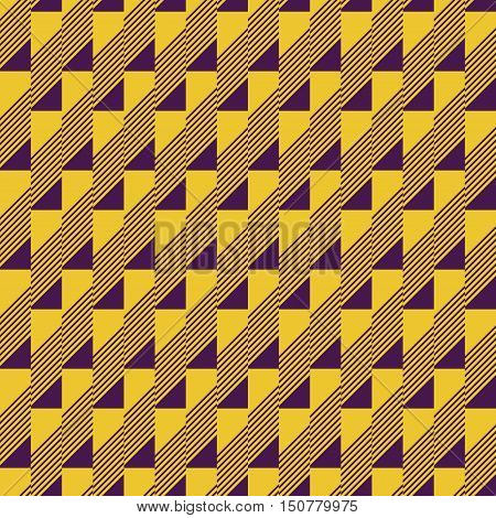 Abstract seamless pattern in contrasting two-color retro color palette. Narrow rectangular tiles with triangles and diagonal lines inside. Vector illustration for fabric, paper and other