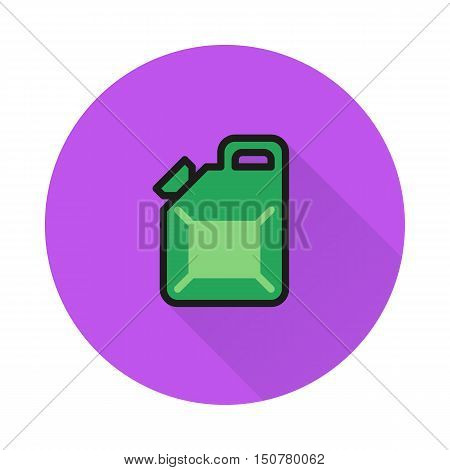 Jerrycan icon on round background Created For Mobile Web Decor Print Products Applications. Icon isolated. Vector illustration