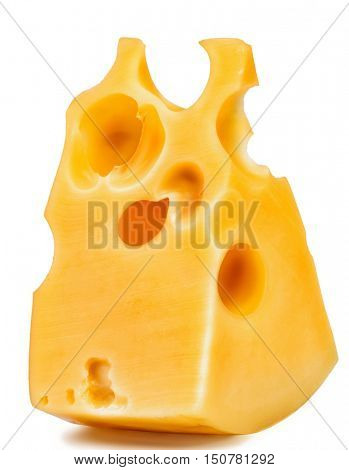 piece of cheese. a triangular slice of cheese with holes. Isolated over white background.