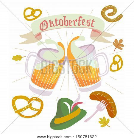 Illustration in vector about traditional beer festival in German. Octoberfest concept. Flat design cartoon illustration with man and woman dancing and drink.