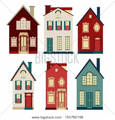 Set of illustrations from old houses. Six of the old two-storey houses on a white background.