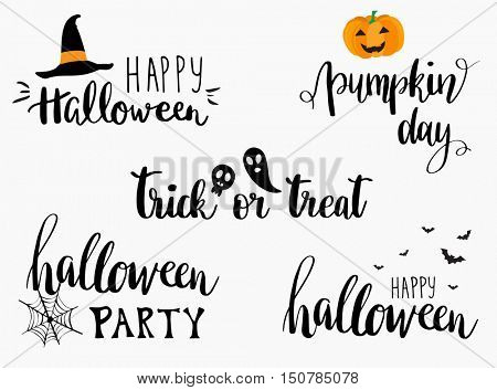 Halloween lettering phrases set. Halloween greeting cards design.Halloween banner or poster with quotes: Trick or treat, Pumpkin day, Halloween party.