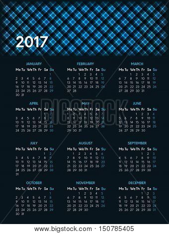 Vector calendar for 2017 year on dark background with shiny blue pattern in header. Week starts on monday
