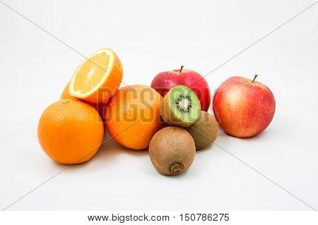 citrus fruit orange  on white background. Orange with. Citrus orange isolated The apple, kiwifruit.