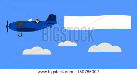 Blue airplane with banner for text. Vintage plane with pilot is flying above clouds. Isolated vector illustration.
