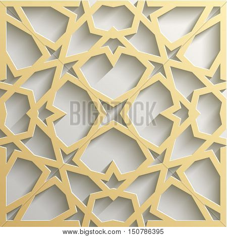 Background with 3d seamless pattern in Islamic