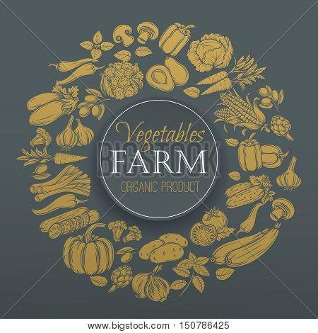 Vegetables gold design menu. Vector hand drawn decorative icons Vegetables .
