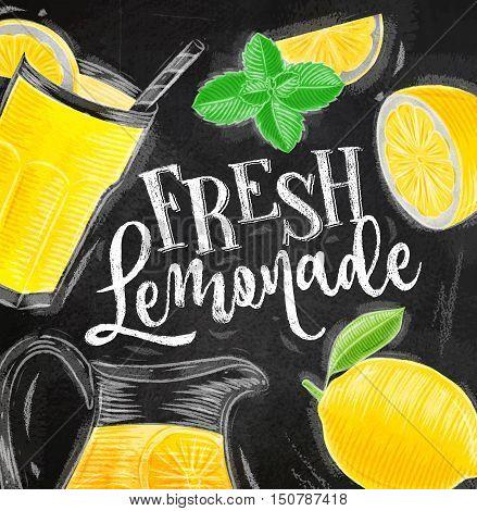 Poster with lemonade elements glass lemon jug mint lettering fresh lemonade drawing with chalk on chalkboard background