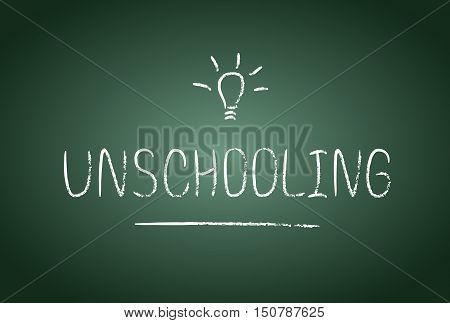 Unschooling lettering in vector. Chalk board and chalk effect. Free education and study at home.
