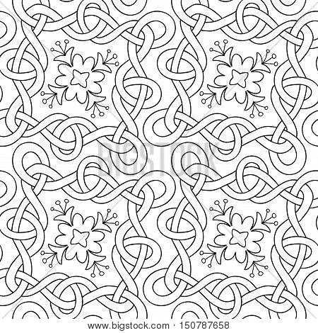 Vector seamless pattern of hand drawn black outlines interwoven ribbons and flowers on white background