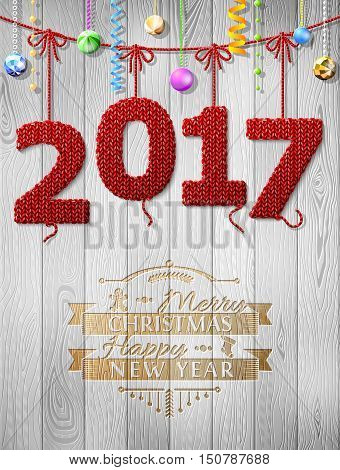 New Year 2017 knitted fabric as christmas decoration. Christmas congratulation against wood background. Vector illustration for new years day christmas winter holiday new years eve silvester etc