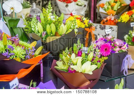 flower market, Miscellaneous colored flowers on a market in pots waiting customers