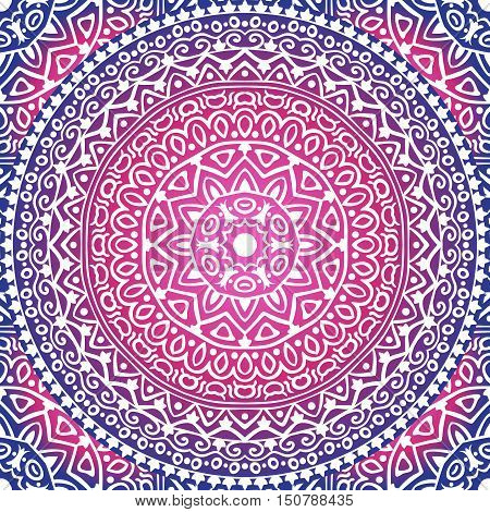 Vector colored background with round ornament. Mandala seamless pattern