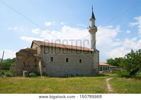 View of the medieval mosque of Uzbek Khan, sunny june day. Crimea