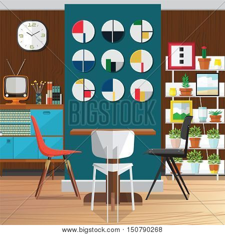Interior living room with sofaand a Flat style vector illustration.