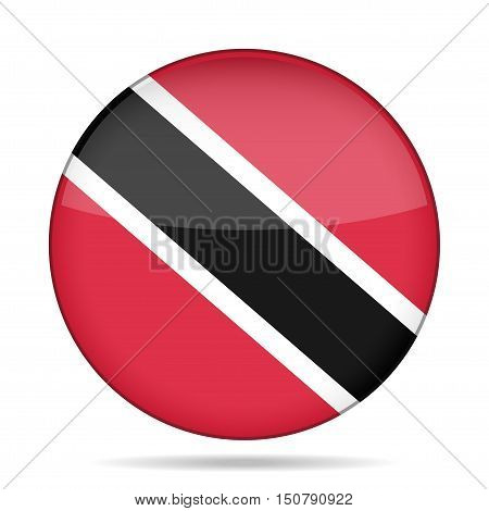 button with national flag - Republic of Trinidad and Tobago and shadow