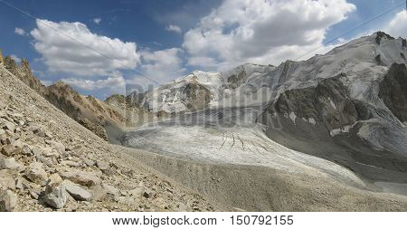 The glacier in the upper reaches of the stream Barkrak. The Western Tien-Shan. Uzbekistan.