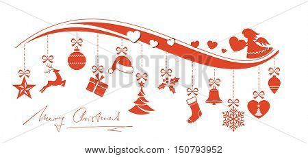 Set of 12 Christmas ornaments hanging from a wavy border decorated with an angel, hearts and handwritten Merry Christmas underneath.